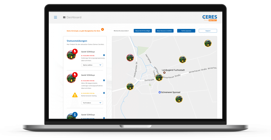 Fahrzeugortung im Webportal mit CERES Protect