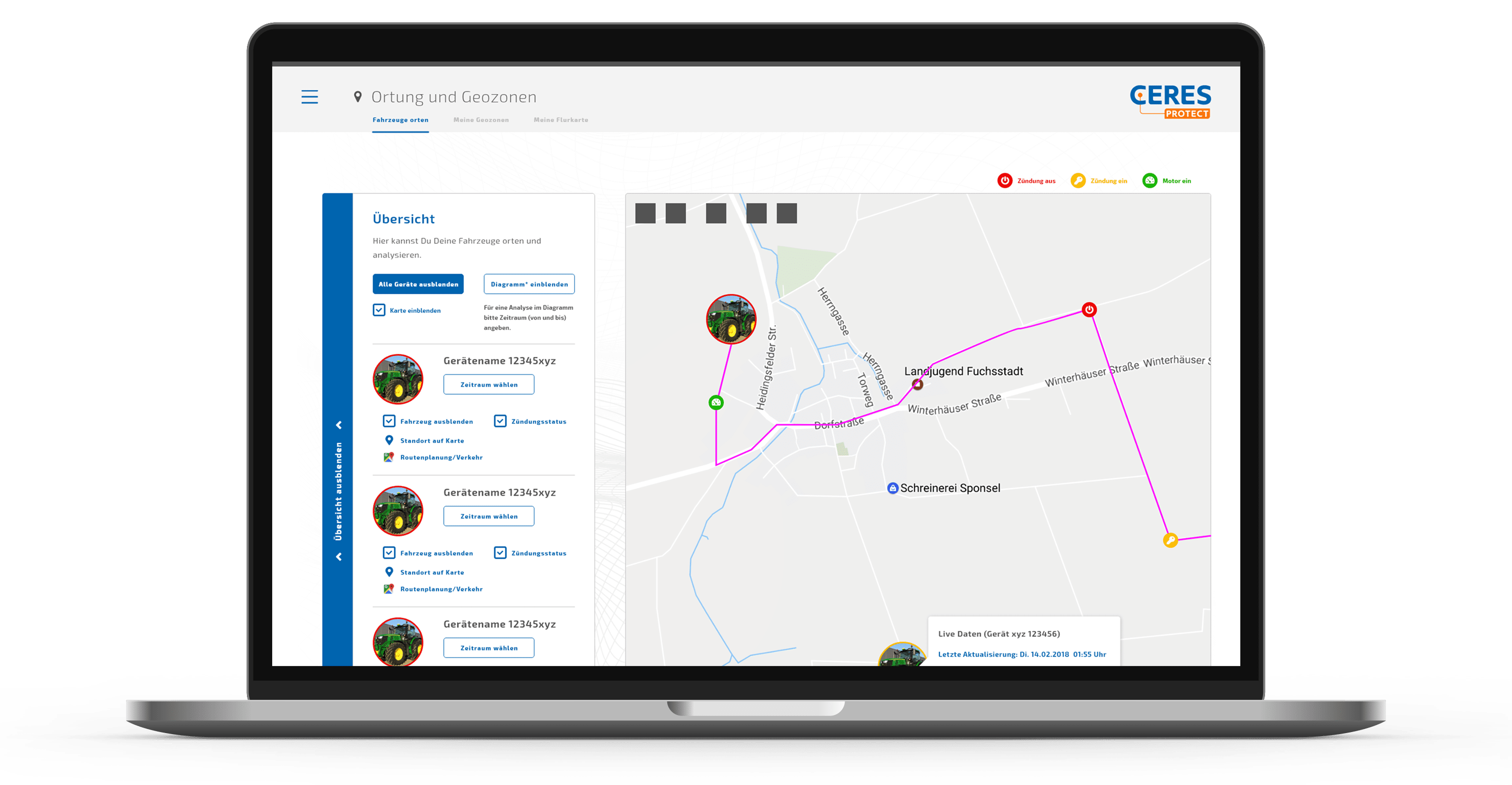 Fahrspur genaues Tracking mit CERES Protect